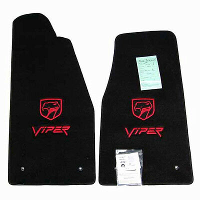 1992 - 2002 Dodge Viper RT/10 Floor Mats - Black Color - Red Logos In Stock