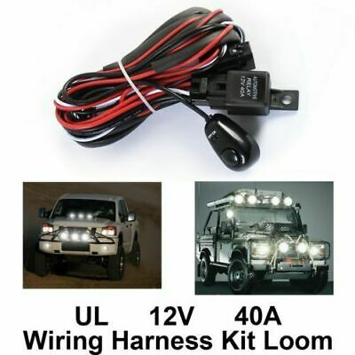Led HID Work Light Bar Wiring Kit Harness Loom Switch Relay 40A 12V Car Lamp