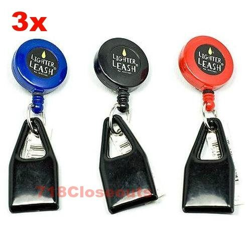 Original Premium Lighter Leash, Retractable With Key/Clip - Pack of 3