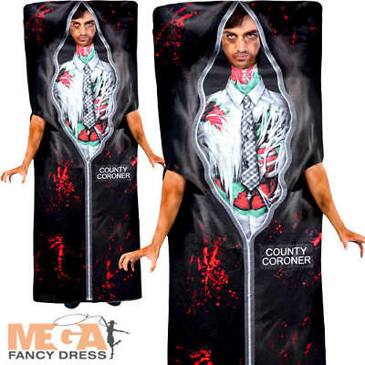 Body in a Bag Mens Fancy Dress Halloween Novelty Gorey Undead Adults Costume New - Body Bag Costume Halloween
