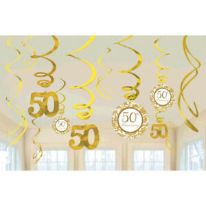 50th WEDDING ANNIVERSARY HANGING SWIRL DECORATIONS (12) ~ Party Supplies Foil