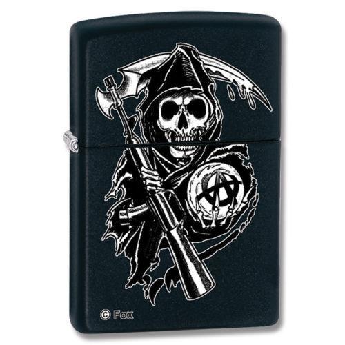 Zippo Sons Of Anarchy Black Matte Grim Reaper Lighter, 28504