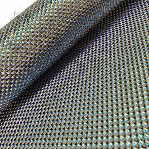 Metallic Carbon fiber &Blue reflection mixed fabric 250gsm Carbon cloth 50*100cm
