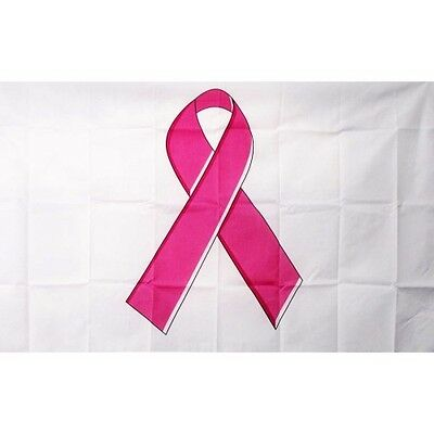 Breast Cancer Awareness Flag Banner Sign 3' x 5' Foot Polyester Grommets - Breast Cancer Awareness Banner