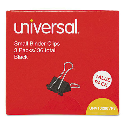 Small Binder Clips, Steel Wire, 3/8 Capacity, 3/4 Wide, Black/Silver, 36/Pack