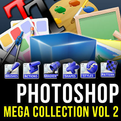 PHOTOSHOP (ADOBE CS,CS2, CS3,CS4, CS5, CS6, CC) MEGA GRAPHIC DESIGN PACK VOL 2, used for sale  Shipping to South Africa