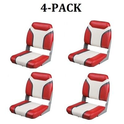 Boat Seats 4 Red Folding Marine Vinyl Seat Pontoon Boating Bass Fishing Boats