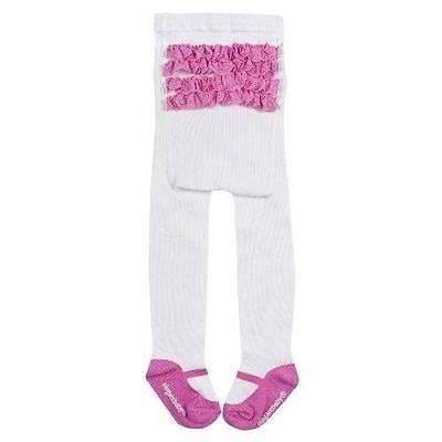 NEW Elegant Baby White & Pink Ruffle Organic Mary Jane Tights  0-12 Months