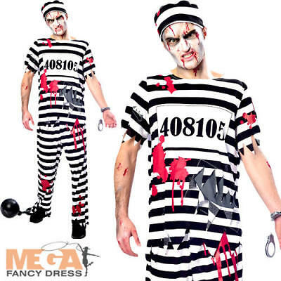 Mens Ladies Couples Fancy Dress Zombie Convict Prison Halloween Costumes Outfits