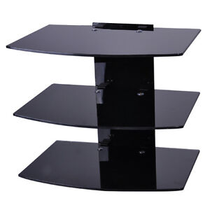 3-shelf-Glass-LCD-LED-Plasma-TV-Wall-Mount-Shelf-Bracket-for-SKY-DVD-Box-Wii-PS3