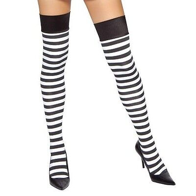 Black And White Striped Stockings (Black White Striped Thigh High Stockings Horizontal Prisoner Costume)