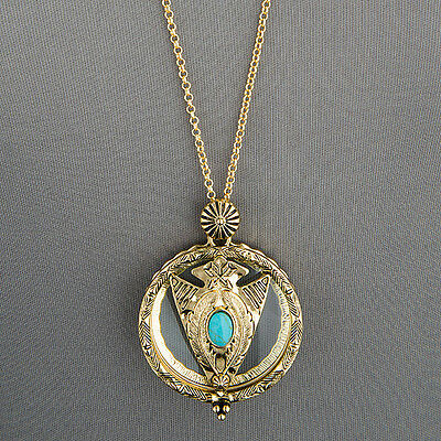 Antique Gold Chain Magnifying Glass Arrowhead Stone Design Pendant Necklace