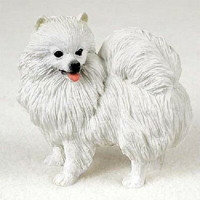 AMERICAN ESKIMO MINIATURE Dog HAND PAINTED FIGURINE resin Statue COLLECTIBLE