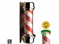 New and Boxed Red and White Barber Pole for the Barbershop Sign