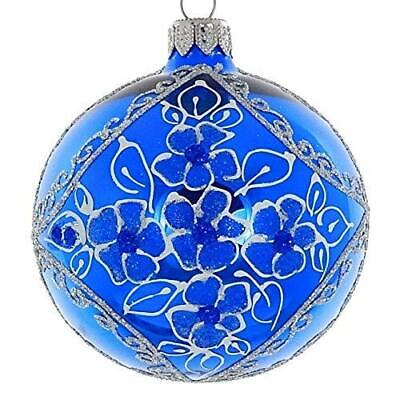 (D) Shiny Blue 4-pc Holiday Ornament Set, Christmas Tree Decoration (Blue)