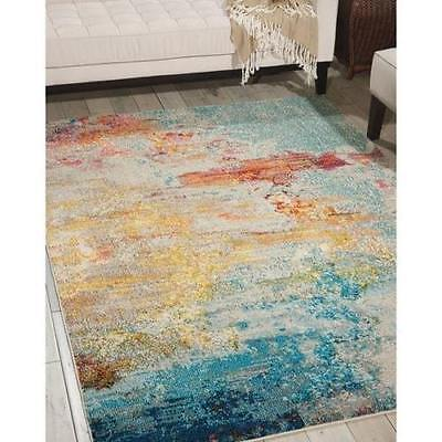 Contemporary Abstract Transitional Aqua Teal Blue Area Rug *FREE -