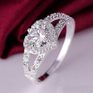 Swarovski HeartWhite Gold Diamond Wedding Bridal Engagement Ring