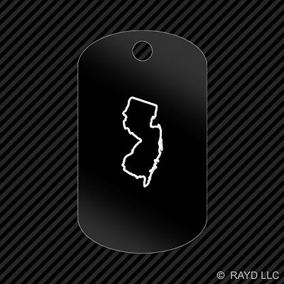 New Jersey Outline Keychain GI dog tag engraved many colors  NJ