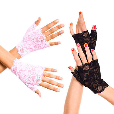 Black Baby Pink Floral Lace Fingerless Wrist Gloves Formal Prom Womens Fashion](Pink Lace Gloves)