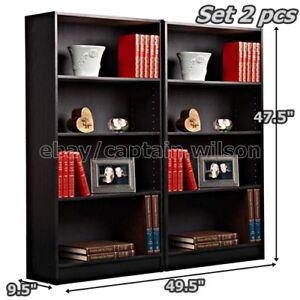 Bookcase Bookshelf Set of 2 Pcs 4 Shelf Black Wood Furniture Adjustable Shelves