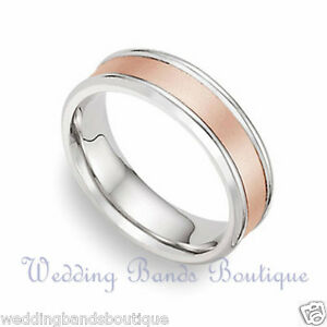 10K TWO TONE ROSE WHITE GOLD WEDDING BAND MENS MEN MAN SATIN CENTER RING 6mm