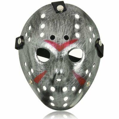 Adult Silver Jason Voorhees Style Hacker Horror Hockey Face Masks Halloween UK (Jason Voorhees Face Mask)