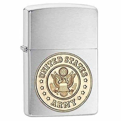 Zippo 280ARM, United States Army, Emblem, Brushed Chrome Lighter,Full Size