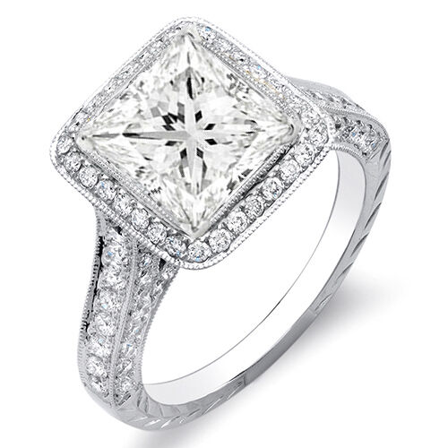 GIA Natural 2.70 Ct. Princess Cut w/ Round Cut Halo Diamond Ring J, VS1 Platinum