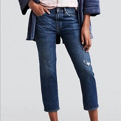 LEVI'S Slim Crop Made & Crafted Distressed Ripped Blue Jeans Women's 28 $198 New