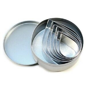 Fox Run Tear Drop 6 pc Tinplated Cookie Cutters Tin Container 1.5