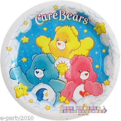 Care Bear Party Supplies (CARE BEARS LARGE PAPER PLATES (8) ~ 1st Birthday Party Supplies Dinner Lunch Vtg)