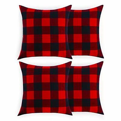 Christmas Pillow Covers18x18 Buffalo Check Plaid Farmhouse Red Black Home Decor