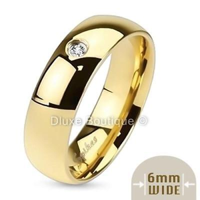 - Men's 6mm Wide 14k Gold Plated Simulated Diamond Wedding Ring Band Size 7-13