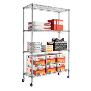 NEW-Alera-Complete-Wire-Shelving-Unit-w-Caster-4-Shelf-48w-x-18d-x-72h-Black
