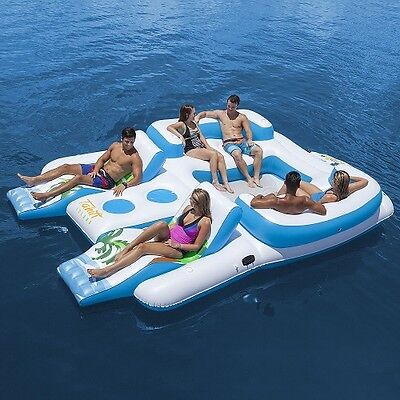 Inflatable Island 6 Person Giant Water Raft Swim Float Lounger Party Adult Toy