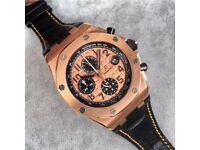 MENS AP ROYAL OAK OFFSHORE GOLD NEW WITH BOX BOOK CARDS TAGS