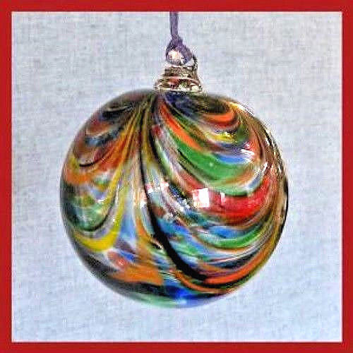 "Hanging Glass Ball 4"" Red, Yellow, Orange, Green & Blue Swirls (1) HB54-2"