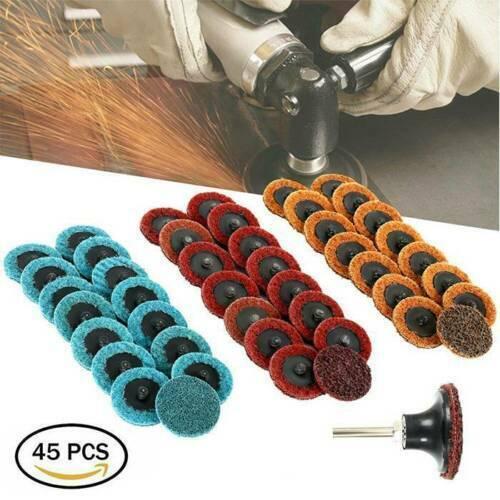 "45Pcs 2"" Medium Grit Roloc Cleaning Conditioning Roll Lock Surface Sanding Discs"