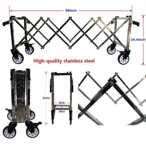 Good Stainless Steel Funeral Church Truck Length Adjustable With 4 Handle Newest