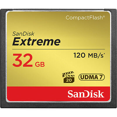SanDisk 32GB 800x Extreme CompactFlash CF Memory Card (120MB/s) - Brand New