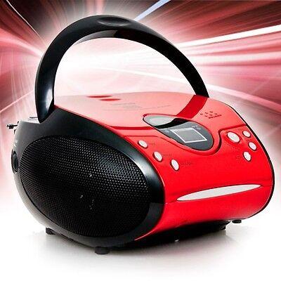 Tragbarer CD Player Spieler UKW Radio FM Stereo Anlage Lenco SCD-24 rot-schwarz online kaufen