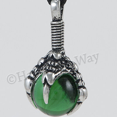DRAGON CLAW ~ GREEN POWER Sphere Orb Pendant Necklace For prosperity & success
