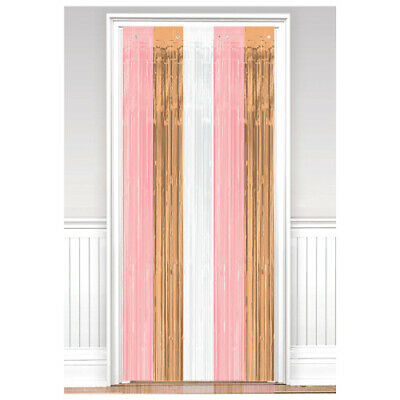 ROSE GOLD FOIL DOOR CURTAIN ~Wedding Birthday Baby Shower Party Supplies Hanging