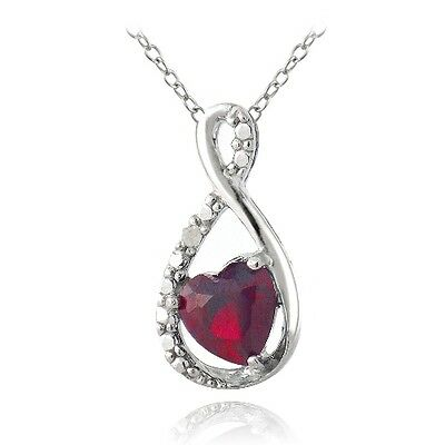 925 Silver Lab Created Ruby & Diamond Accent Infinity Heart (Lab Created Ruby Heart)