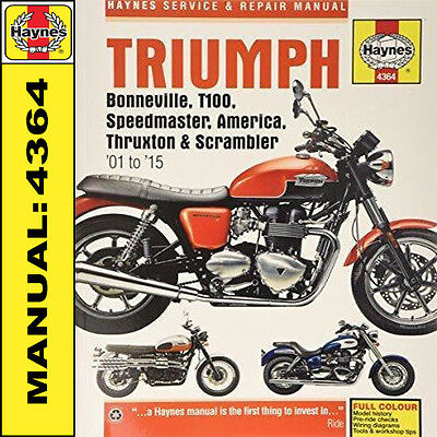 Triumph Bonneville T100 America Speedmaster 2001-2015 Haynes Manual 4364 NEW