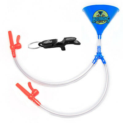 Double Beer Bong - Blue Funnel -  FREE Shotgun Key Chain - Double Party Funnel