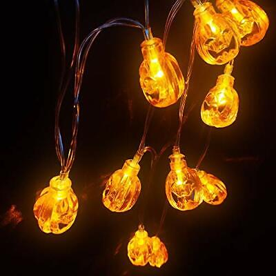 Battery Operated LED Fairy String Lights 3D Pumpkin 10 LEDs Halloween Decoratio