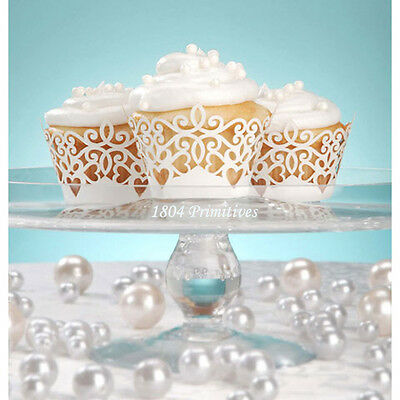 24pc Laser Cut White Pearl Paper Cupcake Wrappers ~ Wedding ~ Bridal Shower