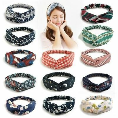 Elastic Vintage Twisted Headbands Head Wrap Hair Bands Boho Yoga Workout Turban