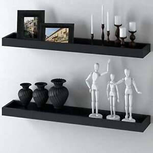 WOODEN WALL SHELF FLOATING BLACK WITH HARDWARE